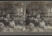 Keystone View Company Manufacturers Publishers. Copyrighted. Made in the U.S.A. Meadville, Pa., New York, N.Y., Portland, Oregon, London, Eng., Sydney, Aus. 22301—Inspecting Sheets of Paper Money, Bureau of Printing and Engraving, Washington, D.C.